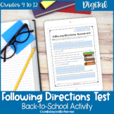 Following Directions Test for High School Back to School o