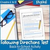 Following Directions Test for Middle School Back to School