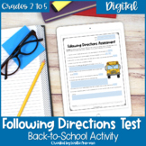 Following Directions Test for Upper Elementary Google Slid