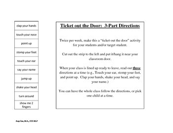 Following Directions Tickets out the door