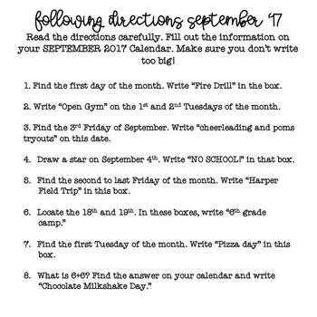 Following Directions Using a Calendar FREEBIE