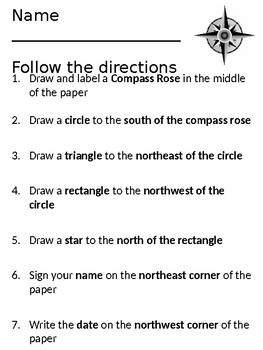 Following Directions Using a Compass Rose