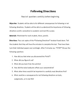 Following Directions: Worksheet & Lesson Objectives