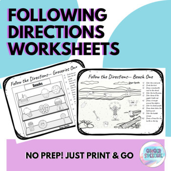 Following Directions Worksheet   No Prep