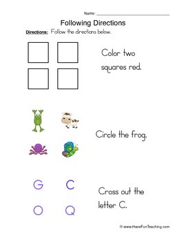 Following Directions Worksheet Pack