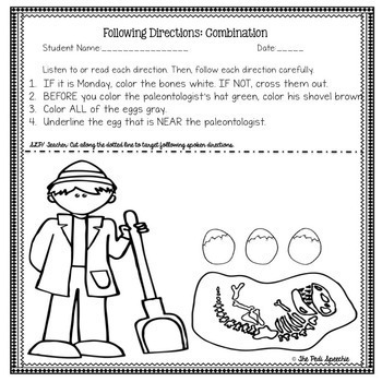 Following Directions Worksheets | Listening Skills