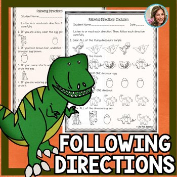 Following Directions Worksheets   Listening Skills   Speech Therapy Worksheets