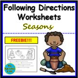 Following Directions Worksheets - Seasons