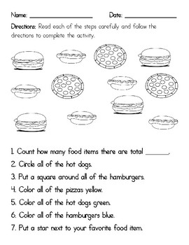 Following Directions Worksheets