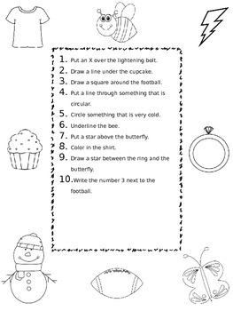 following directions worksheets freebie by fun in speech tpt. Black Bedroom Furniture Sets. Home Design Ideas