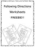 Following Directions Worksheets FREEBIE!