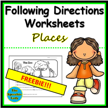 Following Directions Worksheets - Places
