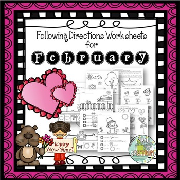 Following Directions Worksheets for February