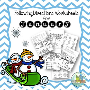 Following Directions Worksheets for January