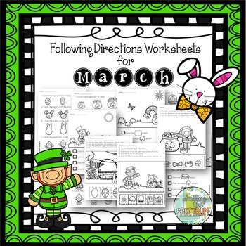 Following Directions Worksheets for March