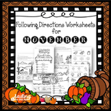 Following Directions Worksheets for November