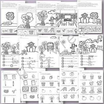 Following Directions Worksheets for September