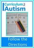 Following Directions Coloring Fine Motor Autism