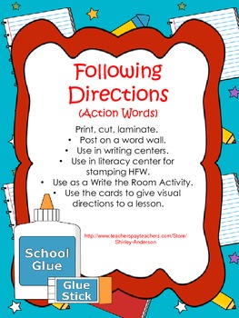 Following Directions- Write the Room