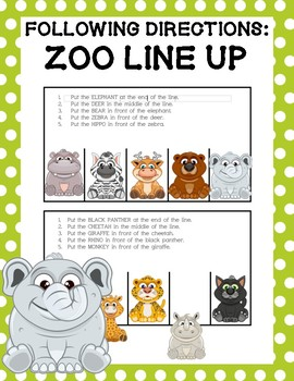 Following Directions: Zoo Line Up