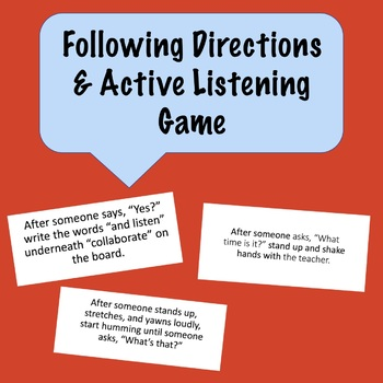 Following Directions and Active Listening Game - fully editable