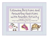 Speech Therapy: Following Directions & Answering Questions with Animals Activity