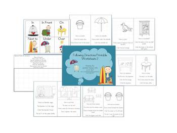 Following Directions and Spatial Concepts Printable Worksheets 2