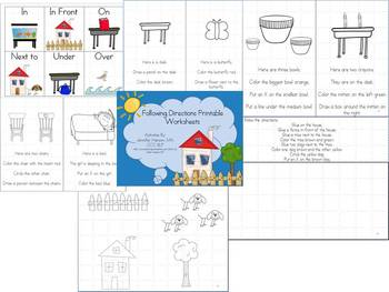 Following Directions and Spatial Concepts Printable Worksheets