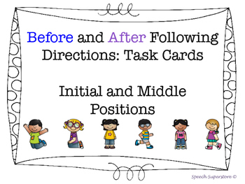 Following Directions (before/after) Task Cards