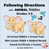 FOLLOW DIRECTIONS  ANIMAL Jokes / Riddles # 2  Animal Vocabulary  Gr 3-4-5