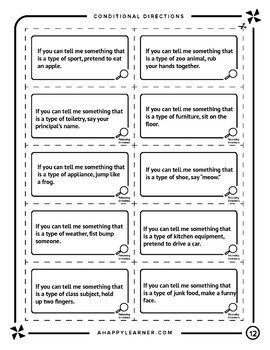 Speech Therapy Game for Following Directions with Categories