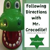 Following Directions with Mr. Crocodile FREEBIE