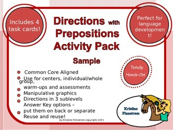 Following Directions with Prepositions Activity Pack - Red