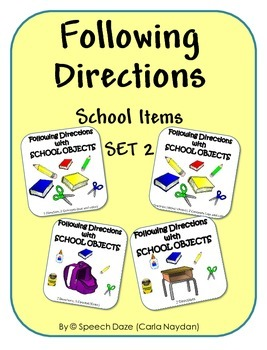 Following Directions with School Items Set 2