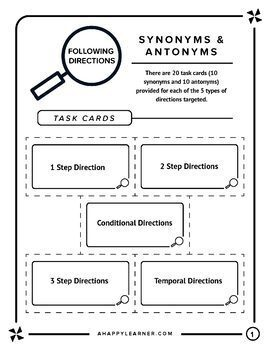 Following Directions with Synonyms & Antonyms