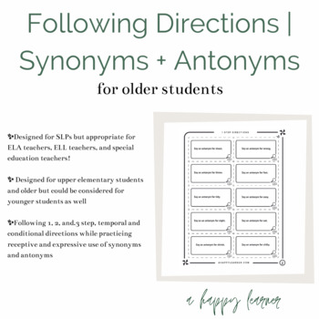 Speech Therapy Game for Following Directions with Synonyms & Antonyms