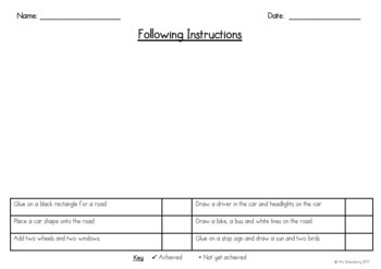 Following Instructions Assessment 1 {Listen and Make}