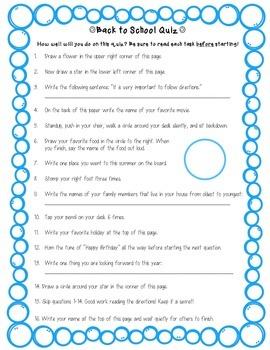 Following Instructions Quiz