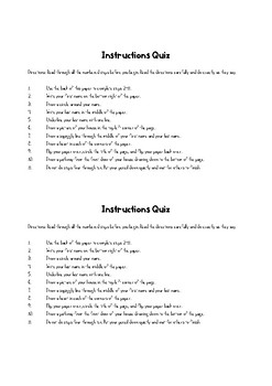 Following Instructions Trick Quiz
