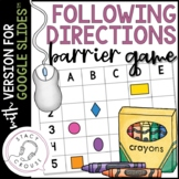 Following Directions Barrier Game for Google Drive™ No Print Teletherapy