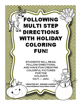 Following Multi Step Reading Directions and Coloring Fun (