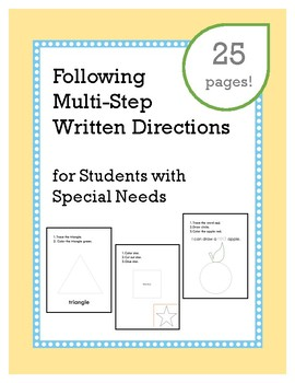 Following Multi-step Written Directions : 2 step : 3 step : for Special Needs