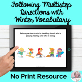 Following Multistep Directions Winter Vocabulary NO PRINT