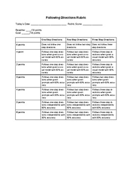 Following One to Three Step Directions Rubric & IEP Goal