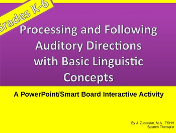 Following Oral Directions with Basic Linguistic Concepts:Smart board Interactive