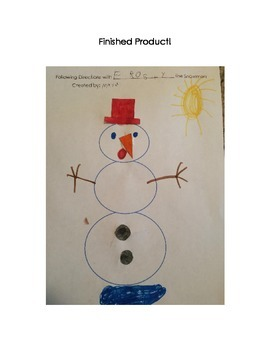 Following Oral & Written Directions: Melting Snowman