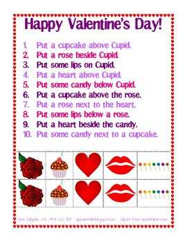 Following Positional Directions - Valentine's Day Theme