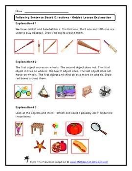 Following Sentence Based Directions Teacher Worksheet Pack