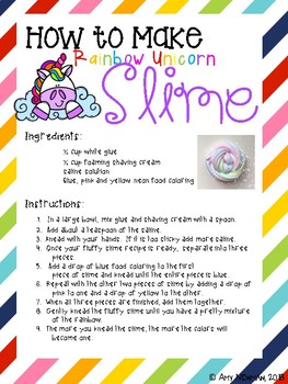 Following Steps in a Process- Rainbow Unicorn Slime