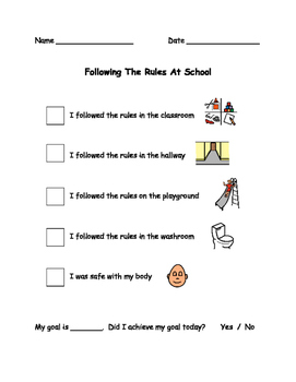 Following The Rules Behaviour Checklist